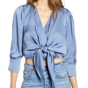 JOA tie front crepe crop top dusty blue